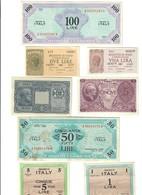 100 + 1 Am Lire Italiano + 50 + 5 Am Lire Bilingue 1943 + 1 +2 +5 +10 Lire Luogotenenza 1944 Da Bb A Q.fds Lotto.2488 - Occupazione Alleata Seconda Guerra Mondiale