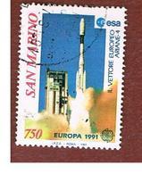 SAN MARINO - UNIF. 1309  - 1991  EUROPA: LO SPAZIO  (VETTORE ARIANE 4)           -  USATI (USED°) - Saint-Marin