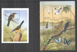 P227 GRENADA GRENADINES FAUNA BIRDS BUTTERFLIES WHALES REPTILES 1SET+1BL MNH - Oiseaux