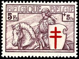 """1934, 10 C. Bis 5 Fr. """"Chevalier"""", Kompletter Satz Mit 7 Werten, Tadellos Ungebraucht, Fotoattest Michaux AIEP (2008), K - Belgien"""
