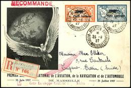 2 Fr. Und 5 Fr. Luftpost-Aufdruckausgabe Mit ESST SALON AVIATION NAVIGATION MARSEILLE 25.6. Auf R-Lufpost-Schmuckumschla - Frankreich