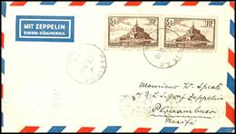 5 Fr. Freimarke, Zwei Einzelwerte Auf Luftpostbrief Aus PARIS AVION 25.10. An Willi Speck An Bord Der Graf Zeppelin In R - Frankreich
