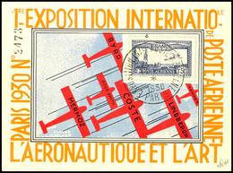 """1,50 Fr. Flugpost Mit Lochung """"E.I.P.A. 30"""" Mit SST PARIS 15.11.30 Auf Nummerierter Ausstellungskarte, Pracht, Geprüft V - Frankreich"""