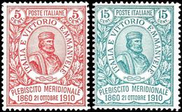 """1910, 5 C. Und 50 C. """"50. Jahrestag Der Volksabstimmung In Neapel"""", Kompletter Satz Mit 2 Werten, Tadellos Ungebraucht,  - Italien"""