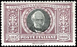 """1923, 5 Lire """"50. Todestag Von Alessandro Manzoni"""", Tadellos Ungebraucht, Auflage Nur 35.000 Stück, Mi. Für ** 1.800.-,  - Italien"""