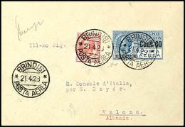 80 C. Auf 1 L. Flugpost Mit Zufrankatur Auf Erstflug-Brief Brindisi - Vlora Aus BRINDISI 21.4.28 Nach Valona, Albanien M - Italien