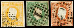 10 R., 50 R. Und 80 R. Luis I., 3 Tadellose Klar Gest. Und Allseits Vollrandige Werte, Mi. 400,-, Katalog: 18,21/22 O - Portugal