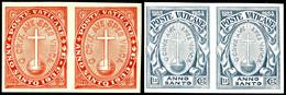 1933, 0,25 -1,25 L. Heiliges Jahr Ungezähnt, Waagerechte Paare, 4 Werte Komplett, Tadellos Postfrisch, Unsigniert, äußer - Vatikan
