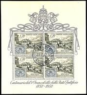 """1952, Blockausgabe 100 Jahre Briefmarken, Zentrisch Gestempelt """"CITTA DEL VATICANO 23.12.52"""", Tadellos, Mi. 250.-, Katal - Vatikan"""