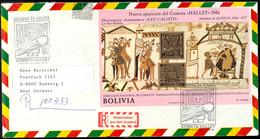 """1986, Blockausgabe Halleyscher Komet Mit ESST """"12-5-86"""" Und Rückseitig 5.000.000 Auf 2.000 P Freimarke Mit Tagesstempel  - Bolivien"""