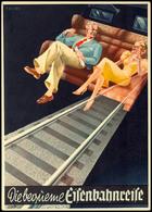 """Eisenbahn, Motivkarte """"Die Bequeme Eisenbahnreise"""", Mann Und Frau Auf Abteilbank Sitzend, Darunter Schienen, Tadellose E - Ansichtskarten"""