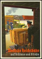 """Eisenbahn: Motivkarte """"Deutsche Reichsbahn Auf Schiene Und Straße"""" - Verladung Am Bahnhof Zwischen LKW Und Güterwaggon,  - Ansichtskarten"""
