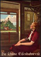"""Eisenbahn: Motivkarte """"Die Schöne Eisenbahnreise"""", Frau In Zugabteil Sitzend Und Aus Fenster Auf Landschaft Mit Burg Auf - Ansichtskarten"""
