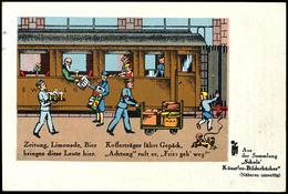 """Eisenbahn: Motivkarte """"Verkauf Am Bahnsteig"""", Bahnsteig Mit Eisenbahnwaggon Und Verkäufern Sowie Dem Geschehen Auf Einem - Ansichtskarten"""