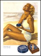 """Werbung: Nivea, Color-Werbekarte Mit """"gebräunte Frau Am Strand Cremt Sich Mit Nivea-Creme Ein"""", Werbeslogan: """"Nivea Schü - Ansichtskarten"""