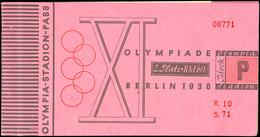 """1936, Olympische Spiele Berlin, Olympiastadionpass, Kartonumschlag Mit """"Plan Des Reichssportfeldes"""", 2 Seiten Mit Grußwo - Ansichtskarten"""