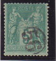 FRANCE : TYPE SAGE : N° 75 . OBL . JOUR DE L'AN . N° 56 . DANS UN CERCLE . TB . - Marcophilie (Timbres Détachés)