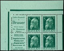 Lehranstalt Für Brauer + 5 Pfg Luitpold Und Vegetarisches Restaurant Esperanto + 5 Pfg Luitpold, Beide Zusammendrucke In - Bavière
