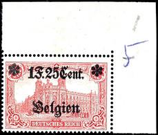 1 Franc 25 C. Auf 1 Mark Landespost Belgien, Zähnung 26:17, Postfrisch Aus Der Rechten Oberen Bogenecke, Falzreste Im Ra - Belgien