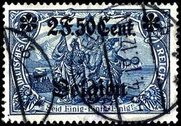 """2 Franc 50 C. Auf 2 Mark Landespost Belgien, Zähnung 26:17, Gestempelt Mit Sehr Seltener Abart """"Doppeldruck Des Aufdruck - Belgien"""