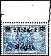 2 Franc 50 C. Auf 2 Mark Landespost Belgien, Zähnung 25:17, Postfrisch Vom Oberrand, Falzreste Im Rand, Kurzbefund Wasel - Belgien
