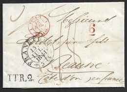 1841 - FRANKFURT Nach BEAUNE, FRANKREICH über STRASSBURG . TTR.2 Rayon 2 - Grenzstpl. TOUR 7 - Taxziff. 6 - Allemagne