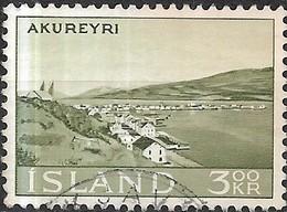 ICELAND 1963 View Of Akureyri - 3k - Green FU - 1944-... Republique