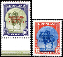 1945, 10 Ö. - 5 Kr. Befreiung Dänemarks Mit Andersfarbigen Aufdrucken, Bis Auf Die 15 Ö, Mit Bogenrändern, Alle 6 Werte  - Groenland