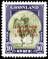 1945, 10 Ö. Befreiung Dänemarks Mit Rotem Statt Blauem Aufdruck, Tadellos Postfrisch, Unsigniert, Seltene Marke, Auflage - Groenland