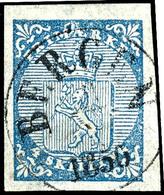 """1855, 4 Sk. Wappenlöwe, Zentrisch Gestempelt K1 """"BERGEN ... 1856"""", Allseits Ausgesprochen Breitrandig, Sehr Schön Farbfr - Norwegen"""
