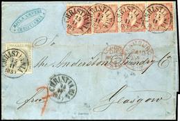 1856, 8 Sk. König Oskar, Waagerechter 3er-Streifen Und Einzelwert In Deutlich Dunklerer Nuance, Zusammen Mit 3 Sk. Grauv - Norwegen