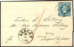 """1856, 4 Sk. König Oskar Auf Brief Von K1 """"BERGEN 26/6 1862"""" Nach Trondheim, Tadellos, Rückseitig Voll Erhaltenes Wachssi - Norwegen"""
