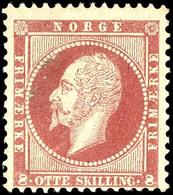 1856, 8 Sk. König Oskar Karmin, Tadellos Postfrisch, Unsigniert, Ringsum Gut Gezähnt Und Farbfrisch, In Postfrischer Erh - Norwegen