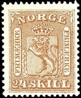 1863, 24 Sk. Wappen Braun, Tadellos Postfrisch, Unsigniert, Kabinett, In Postfrischer Erhaltung Selten, Katalog: 10 ** - Norwegen