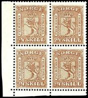 1863, 24 Sk. Wappen Braun, 4er-Block Mit Linker Unterer Bogenecke, Tadellos Postfrisch, Unsigniert, Sehr Gut Gezähnt Und - Norwegen