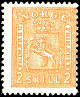 1867, 2 Sk. Wappen Orange, Tadellos Postfrisch, Unsigniert, Kabinett, Katalog: 12 ** - Norwegen