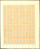 1867, 2 Sk. Wappen Orange, Originalbogen Zu 100 Werten, Postfrisch, Unsigniert, Mehrfach Gefaltet, Randmängel Und Teils  - Norwegen