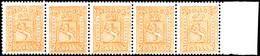 1867, 2 Sk. Wappen, Waagerechter 5er-Streifen Mit Rechtem Bogenrand, Tadellos Postfrisch, Unsigniert, Luxus, Insbesonder - Norwegen