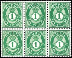 1872, 1 Sk. Posthorn Grün, Waagerechter 6er-Block, Tadellos Postfrisch, Unsigniert, Dekorative Große Einheit, Kabinett,  - Norwegen