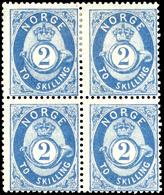 1872, 2 Sk. Posthorn Blau, 4er-Block, Die Beiden Oberen Werte Ungebraucht, Das Untere Paar Postfrisch, Unsigniert, Tadel - Norwegen