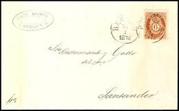 """1872, 6 Sk. Posthorn Rötlichbraun Auf Portogerechtem Brief Von K1 """"BERGEN 25 1 1876"""" Nach Santander / Spanien, Ausgabety - Norwegen"""