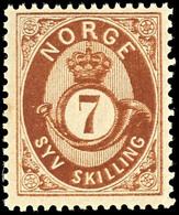 1872, 7 Sk. Posthorn Dunkelbraun, Tadellos Postfrisch, Unsigniert, Kabinett, In Postfrischer Erhaltung Nicht Häufig, Fot - Norwegen