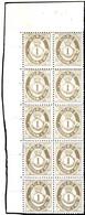 1877, 1 Ö. Posthorn Bräunlichgrau, Senkrechter 10er-Block Mit Linker Oberer Bogenecke, Postfrisch, Falzrest Im Rand Und  - Norwegen