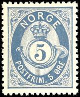 1877, 5 Ö. Posthorn Ultramarin, Tadellos Postfrisch, Kabinett, In Postfrischer Erhaltung Selten, Gepr. Moldenhauer BPP,  - Norwegen