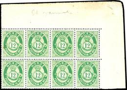 1877, 12 Sk. Posthorn Gelbgrün, Waagerechter 8er-Block Mit Rechter Oberer Bogenecke, Postfrisch, Unsigniert, Gut Gezähnt - Norwegen
