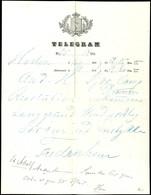 1869, Frühes Telegrammformular Mit Eingedrucktem Briefkopf, Gebraucht In Fredriksen, Mehrfach Gefaltet, Sonst Gute Erhal - Norwegen