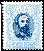 1878, 1,50 Kr. König Oskar II., Tadellos Postfrisch, Kabinett, In Dieser Erhaltung Seltene Marke, Gepr. Moldenhauer Jr.  - Norwegen
