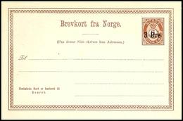 1888, 3 Ö. Auf 6 Ö. Posthorn Ganzsachenkarte Mit Antwortteil, Tadellos Ungebraucht, äußerst Seltene Karte, Auflage Nur 5 - Norwegen