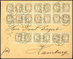 """1890, 1 Ö. Posthorn, Waagerechter 14er-Block Und Waagerechter 6er-Streifen Auf Portogerechtem Brief Von K2 """"SKIEN 14 IX  - Norwegen"""
