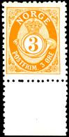 1893, 3 Ö. Posthorn, Gezähnt K 13 1/2:12 1/2, Mit Unterrand, Tadellos Postfrisch, Luxus, In Postfrischer Erhaltung Selte - Norwegen
